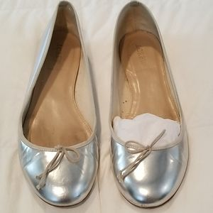 Silver leather J. CREW ballet flats size 10